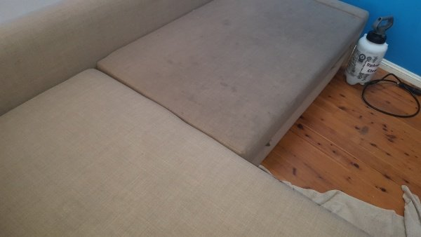 upholstered lounge at shellharbour showing before and after cleaning by chemdry -1